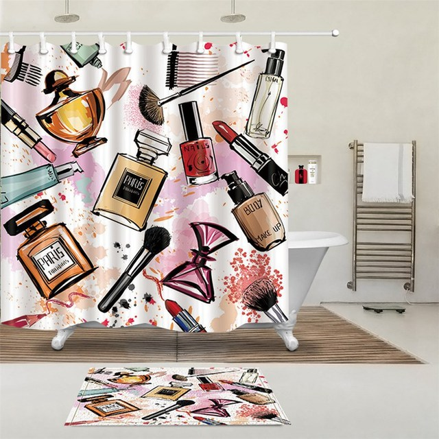 NEW Girly Shower Curtains Cosmetic Perfume And Lipstick Nail Polish Brush Printing Decorative Polyester Fabric Bathroom