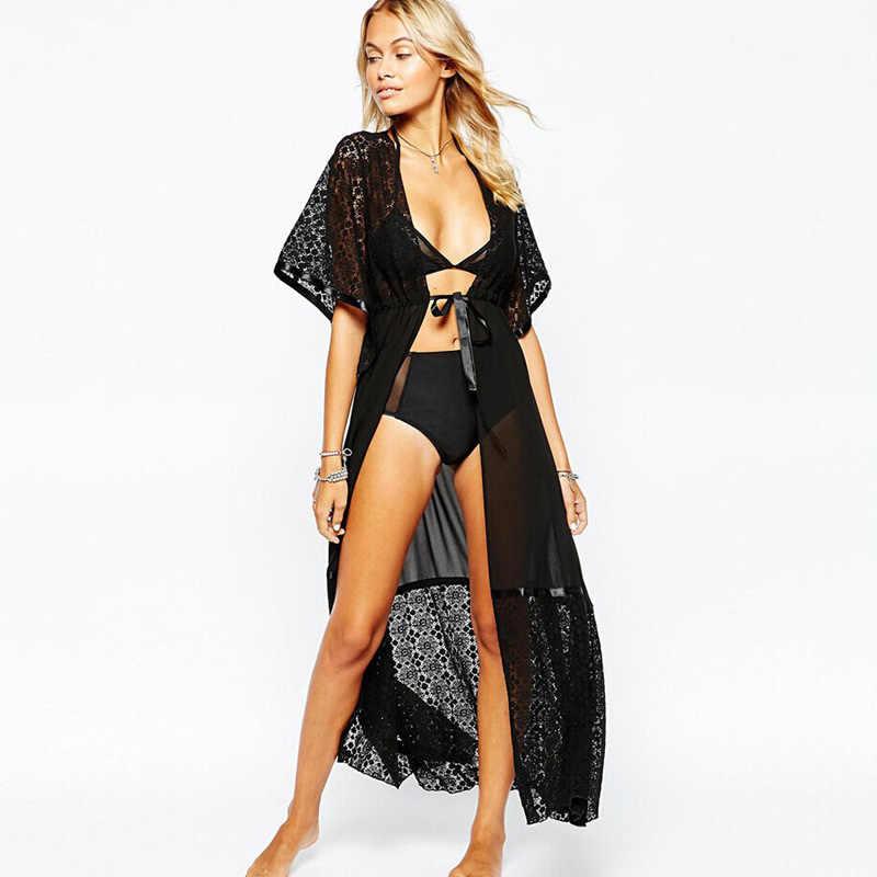 2019 Formal Summer Sexy Beach Dress Women Pareo Beach Tunic Extra Long Lace Tunique De Plage Beach Dresses DR85