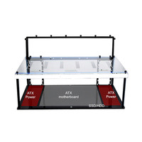 NEW 6 GPU Acrylic Open Air Crypto Coin Mining Frame Rig Case Graphics Card ETH LTC
