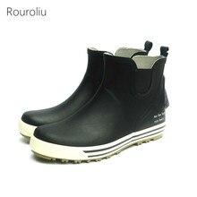 Rouroliu Men Non-Slip Autumn Winter Boots Unisex Ankle Rubber Rainboots Waterproof Water Shoes Warm Socks Inserts Wellies FR64