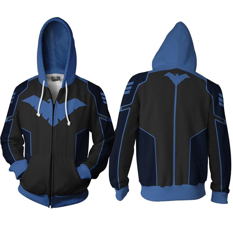 Sweat à capuche de nuit Cosplay vestes d'impression 3D Zip complet Cool pull manteau unisexe pulls molletonnés