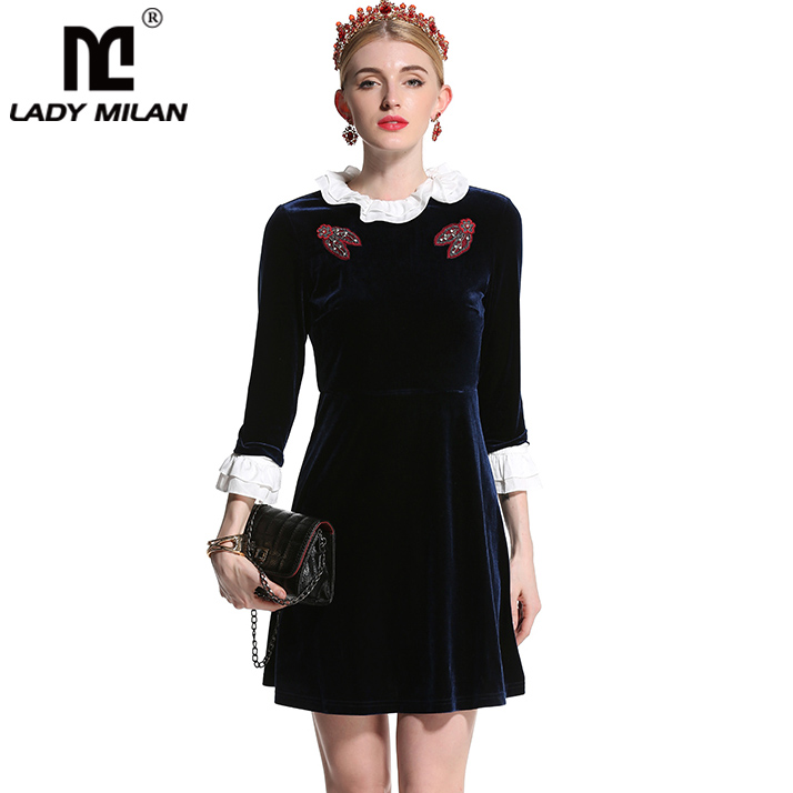 New Arrival 2018 Womens O Neck 3/4 Sleeves Ruffles Appliques Beaded Fashion Velour Short Dresses