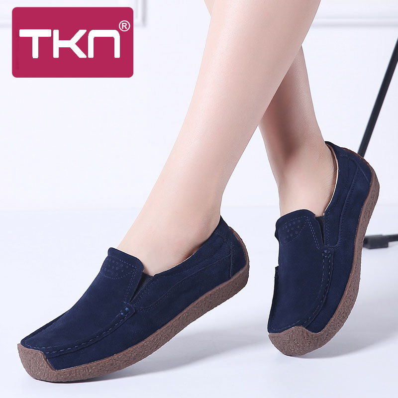 2019 Spring Flats Loafers Shoes for Women   Leather     Suede   Chaussure Femme Slip on Ballerina Oxford Woman Sneakers Plus Size 526