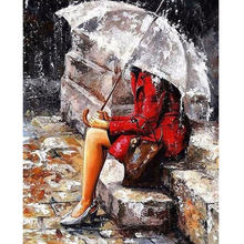 Framed Digital DIY Oil Painting By Numbers Umbrella Lady Wall Art Painting Canvas Picture Coloring Paint By Number Brush Drawing(China)