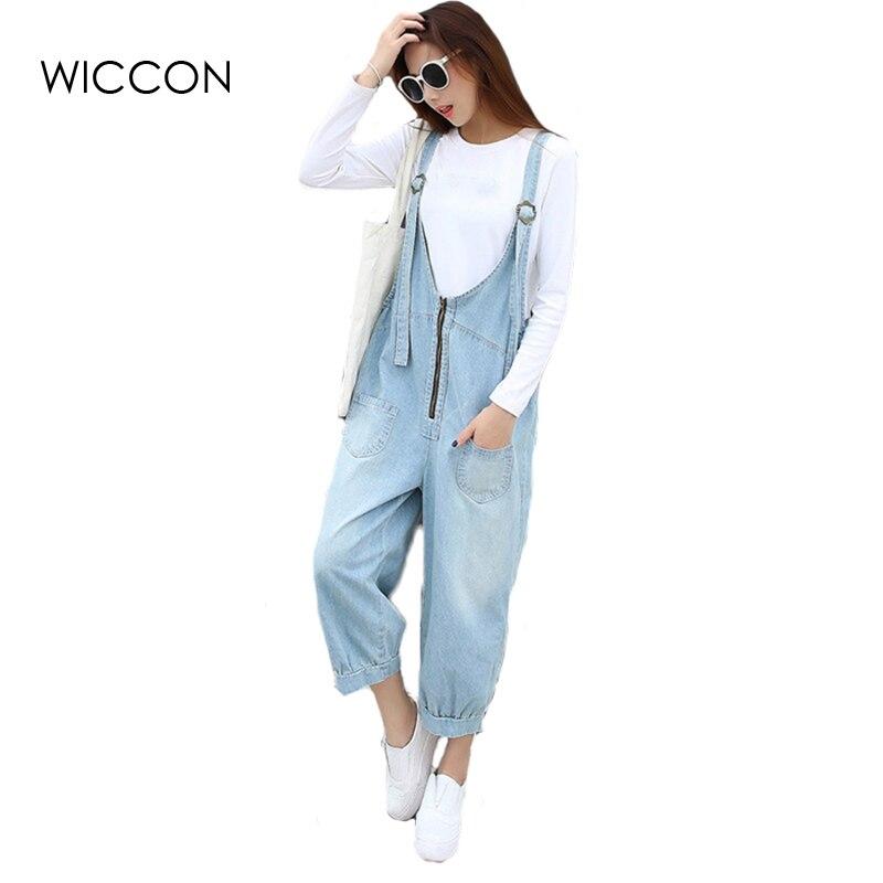 Cool Women Jumpsuits Loose Large Size Female Jumpsuit Denim Pants Big Pocket Zipper Design Sky Blue