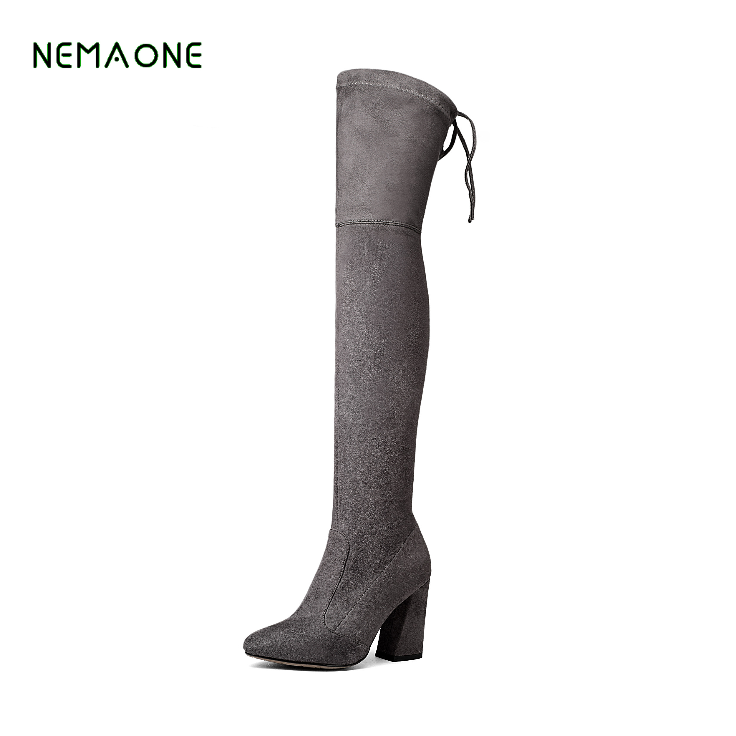 NEMAONE Big Size 34-43 Sexy Thigh High Boots For Women Velvet Winter Shoes Over The Knee Boots Woman High Thick Heel women over the knee boots black velvet long boots ladies high heel boots sexy winter shoes chunky heel thigh high boots