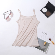 Women Silk Sling Vest Camis Basic Camisoles 100% Natural Tank tops New style Plus size halter top Jersey silk
