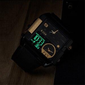 Image 5 - 6.11 Piazza orologio Da Uomo LED Impermeabile Multipla Time Zone Mens Orologi di Marca Di Lusso Relogio Masculino Montre Homme Vigilanza di Sport