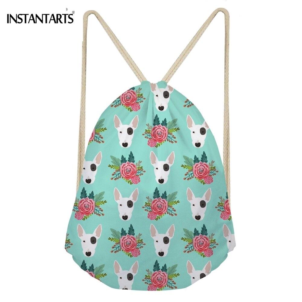 INSTANTARTS Kawaii 3D Animal Bull Terrier Flower Print Women Men Drawstrings Bags Fashion Softback Storage Backpacks Beach Bags 3d flower print square beach throw