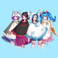 Free Size Kawaii Cloak Anime Neko Atsume Cosplay Cat Cloak with Tail Nyanko Sensei Cute Coat Lolita Tops Hoodie for Girl Women
