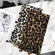 Newest Women Leopard Pattern Cotton Tassel Scarf 10PCS/LOT