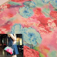 dedb18bd6 FYS14 50*140cm Mon Peony Gambiered Guangdong Gauze Dress Fabric Cheongsam  Fabric For Women Dress Cloth Handmade Diy Bag Fabric