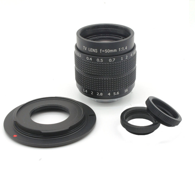 50mm f1.4 C Mount CCTV camera Lens+ Macro Ring+ C to M4/3 Adapter for Olympus EP1 EP2 EPL-1 for Panasonic G1 G2 GF1 GH1