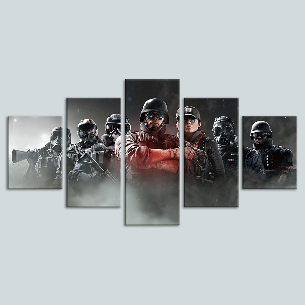 5 Piece Tom Clancy's Rainbow Six Siege Video Game Poster Canvas Art Oil Painting for Living Room Wall Decor 3