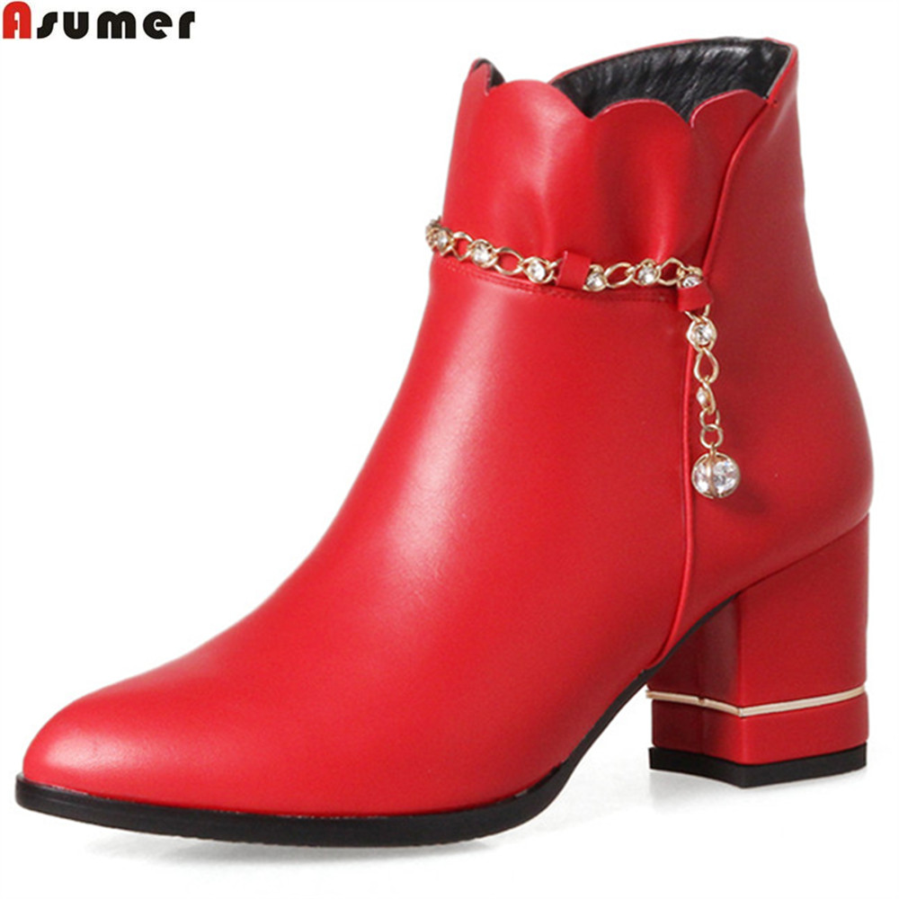 ASUMER fashion new arrive women boots pointed toe zipper black red white ladies boots Keep warm square heel chain ankle boots asumer 2018 hot sale new arrive women boots round toe black white pink ladies boots keep warm winter knee high boots