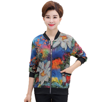 Fashion Women Bomber Jackets Blue Red Flower Print Outerwear Woman Casual Short Coat Zipper Front Jacket Leisure Chaqueta Mujer