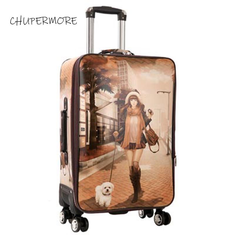 Chupermore Fashion Graffiti PU Leather Rolling Luggage Spinner Men Suitcase Wheels 20 inch Women Carry On