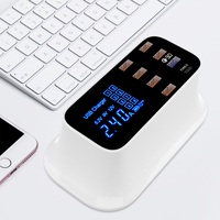 8 Port Smart USB QC 3.0 Charger Station LED Display Type C Fast Charging Power Adapter USB Charger