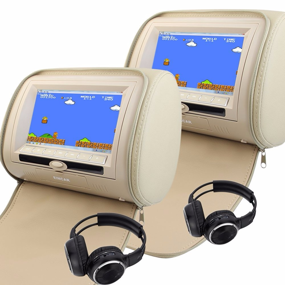Car Headrest DVD Player Pupug beige Universal Digital Screen zipper Car Monitor USB FM TV Game IR Remote control two headphones eincar car 9 inch car dvd pillow headrest two monitor lcd screen usb sd 32 bit game fm ir multimedia player free 2 ir headphones