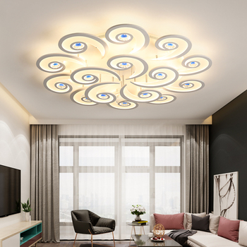 Szczęście chmura niebieski kryształ żyrandol do salonu lampy proste nowoczesny atmosfera domu kreatywny led żyrandol badania lampka do sypialni