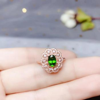 bijou green diopside gemstone ring with 925 silver jewelry