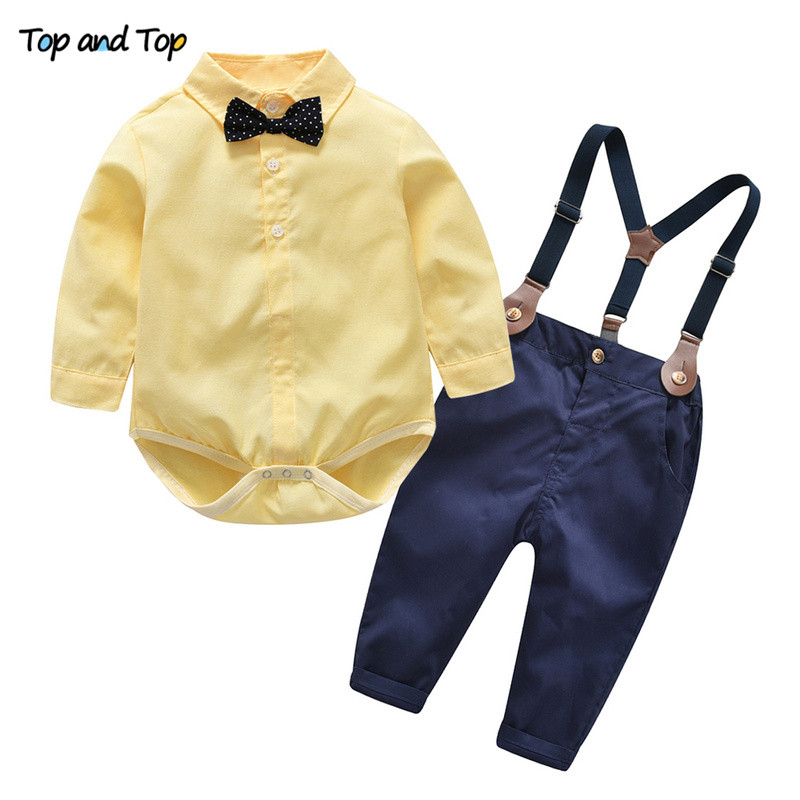 a669ec2d025  o  Top and Top Autumn Kids Boys Clothes Set Baby Boy Gentleman Outfit Long  Sleeve Romper Shirt with Bow Tie + Suspenders Trousers -in Clothing Sets  from ...