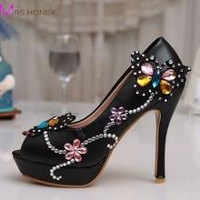 New Lovely Wedding High Heel Platform Crystals Shoes Aesthetic Rhinestone Peep Toe Bridal Shoes Diamond Lady Shoes Wedding Party