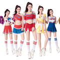 Sexy High School Cheerleader Costume Cheer Girls Uniform Party Outfit with Pompoms Performance Wear Colorful