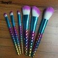 Colorful Unicorn Brush Set 6pcs High Quality Bright Blue Foundation Powder Contour Mermaid Brushes Beauty Soft Makeup Tools Kits