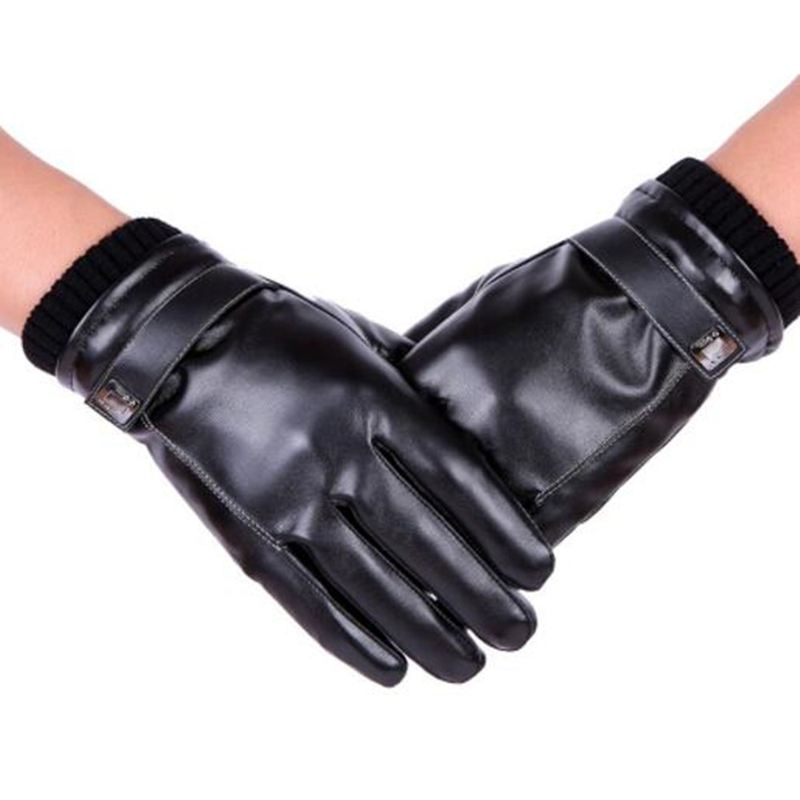 Men's Windproof Waterproof Touch Screen Leather Gloves Winter Outdoor Riding Warm Thickening Plus Velvet Lining Glove QLY9449