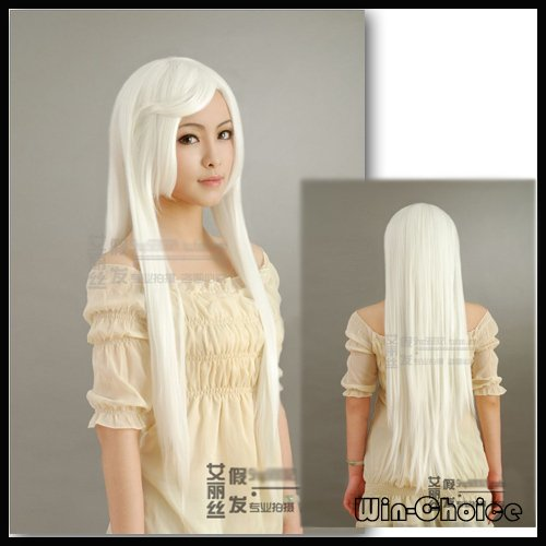 High Quality White Inuyasha Cosplay Wig Long Heat Resistant Anime