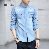 M 3XL Men S Denim Shirt 2017 Autumn And Winter Good Quality Casual Long Sleeved Jeans