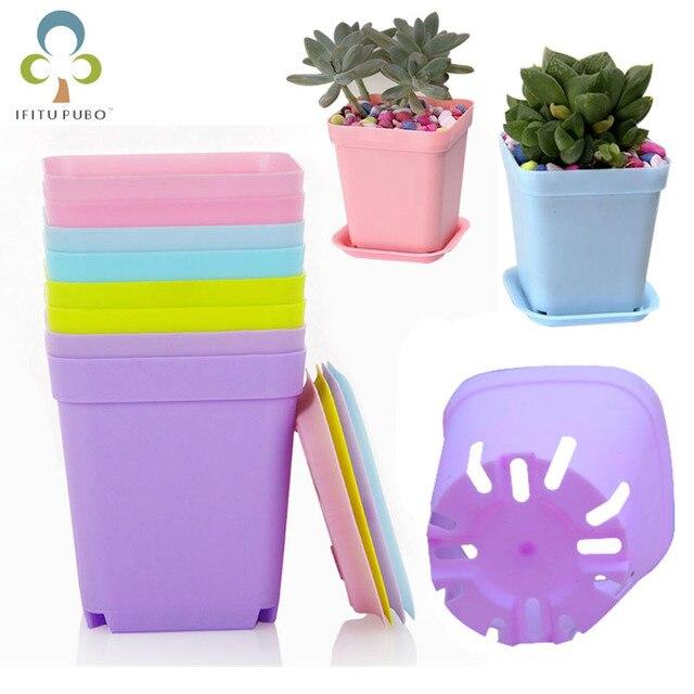 $ US $6.04 20pcs Mini Flower Planter Flower Pots for Succulent Plants Square Plastic Nursery Pots Garden Desk Home Office Decoration GYH