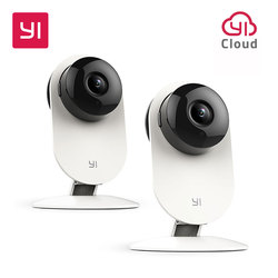 YI Home Camera 720P 2pcs HD Video Monitor IP Wireless Surveillance Security Night Vision Alert Motion Detection White RU S