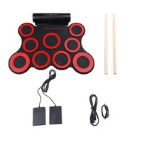 Yibuy Black Red 9 Drum Pads Electronic Roll Up Drum Kit W Foot Pedals Drumsticks Power