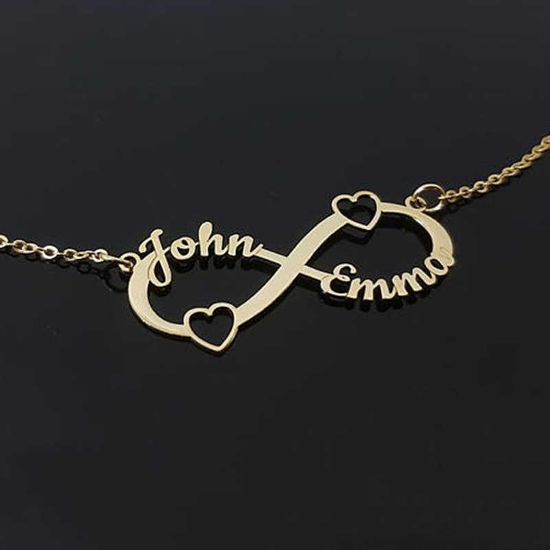 Nextvance Stainless Steel Custom Name Couple Necklace Personalized Infinity Pendant Necklace Jewelry Best Friend Gift