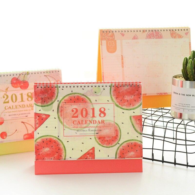 New 2018 Summer Fruit Series Calendars Mini table calendars desk planner calendar  2017,8~2018,12
