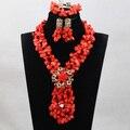 Populares Rojo/Verde sistemas de La Joyería Nupcial de La Boda Africana de Nigeria Coral Perlas/Mujeres Collar de Perlas de Set Envío Libre CJ858