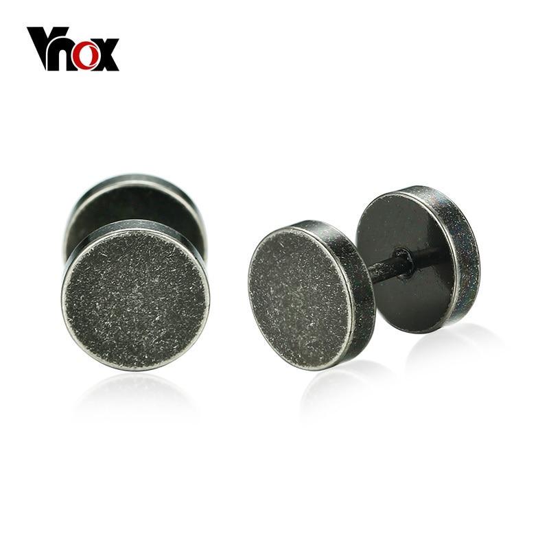 Vnox Rock Punk Stud Earrings for Men Retro Silver Color Stainless Steel Male Boy Earrings Gothic Style Jewelry
