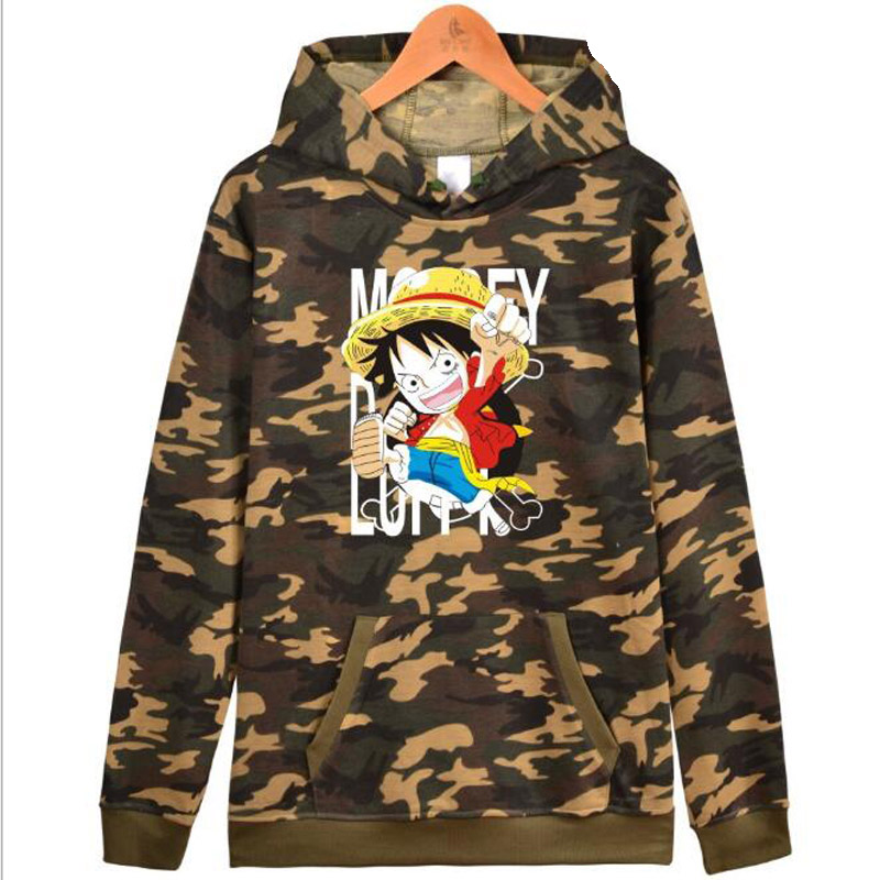 Anime One Piece Monkey D Luffy Camouflage Hoodie Men Hooded Sweatshirts Male Sportswear Brand Clothing Hip Hop Moleton Masculino