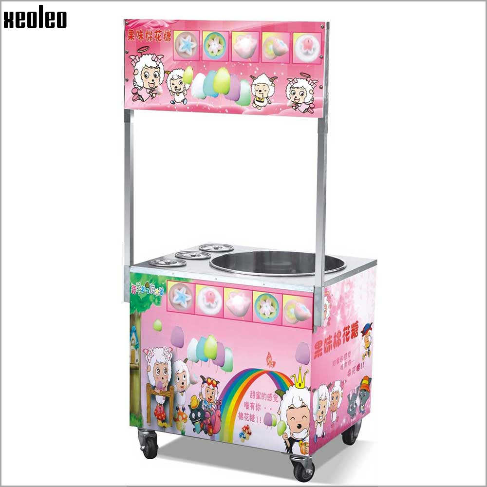 купить Xeoleo Commercial Gas Cotton candy maker Gas Candy floss machine Movable Cotton candy machine with wheel 3 Buckets Cartoon ink недорого