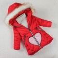 Niñas Chaqueta de Invierno 2016 ocasional de la muchacha de cuello de piel abrigo de los niños abrigo de invierno delgado acolchado grande vírgenes gruesa caliente abajo de algodón chaqueta