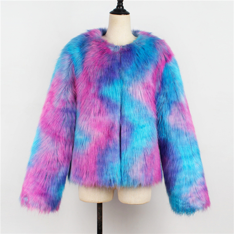 Invierno Mujeres Faux Cuello Abrigo Ropa Capa Femenina Claro Mullidas Larga La De Manga Fur Coat Redondo Furry Del Piel Otoño Chaqueta ET1qOB4x