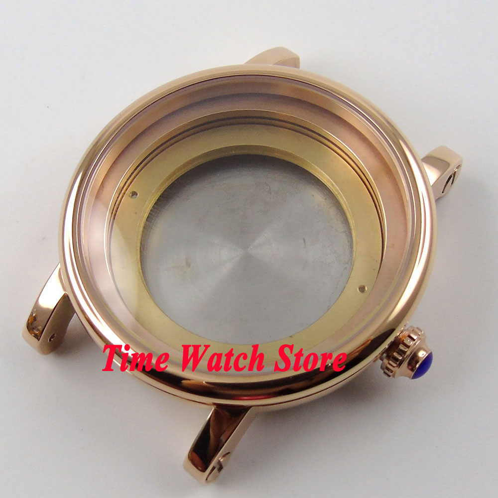 43mm Debert fit ETA 2836 movement Rose gold plated stainless steel watch case C78