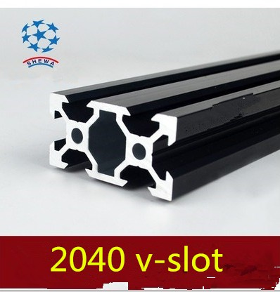 <font><b>2040</b></font> aluminum extrusion profile european standard <font><b>2040</b></font> <font><b>v</b></font>-<font><b>slot</b></font> black length 500mm aluminum profile workbench 1pcs image
