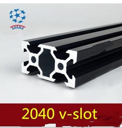2040 Aluminum Extrusion Profile European Standard 2040 V-slot Black Length 500mm Aluminum Profile Workbench 1pcs