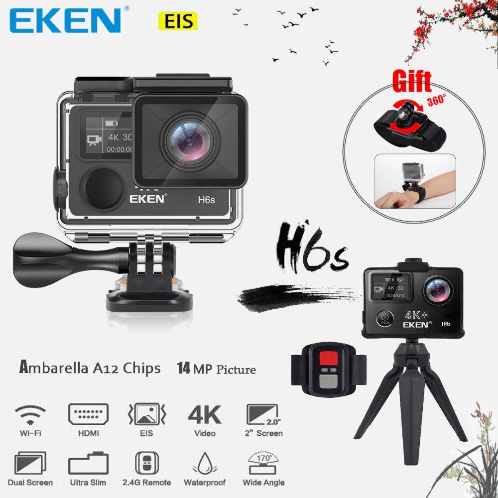 EKEN H6s 4 К + Utral HD 14MP с Eis дистанционного спорта видеокамеры Ambarella A12 чип Wi-Fi 30 м Водонепроницаемый panasonic Сенсор действие Камера
