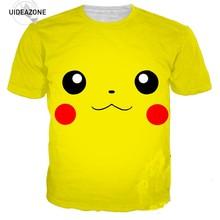 4c7f9c0837c7 Pokemon Pikachu Rosto 3D T Tshirt da Camisa Das Mulheres Dos Homens de  Manga Curta O Pescoço de Verão Tops Tees Casual Plus Size.