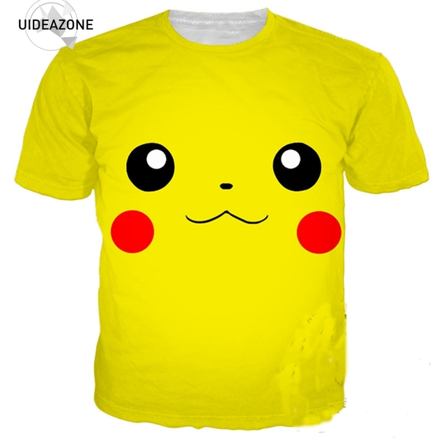 b3d6264a0 Pokemon Pikachu Face 3D T Shirt Tshirt Men Women Short Sleeve O Neck Summer  Tops Tees Casual Plus Size Clothing Brand T-shirt