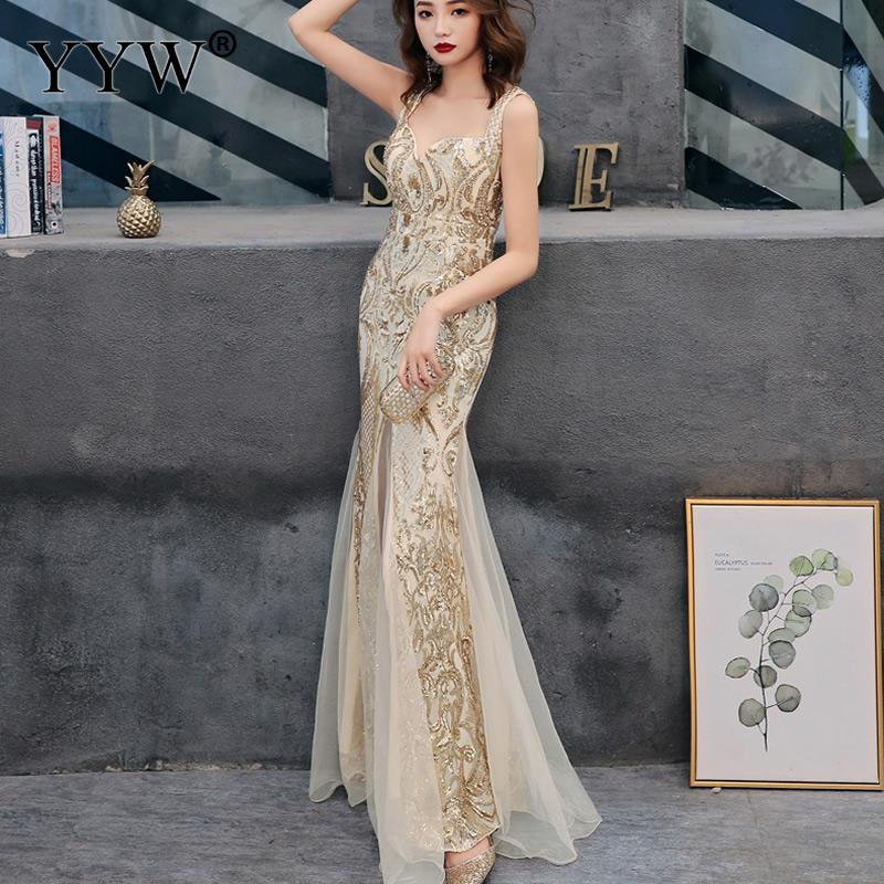 Shinny Gold Sequined V Neck Sleeveless Elegant Evening Dresses Sexy Robe De Soiree Formal Dress Luxury Mesh Club Party Vestidos 3